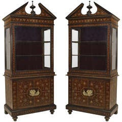 Pair of Italian Bone Inlaid Rosewood Cabinets