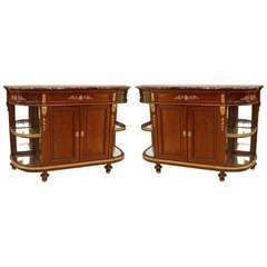 Pair of Louis XVI Style Marble Top Mahogany Sideboards