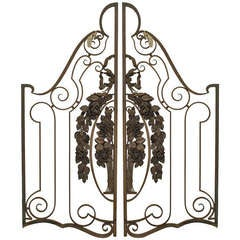 Pair of French Art Deco Gilt Trimmed Gates