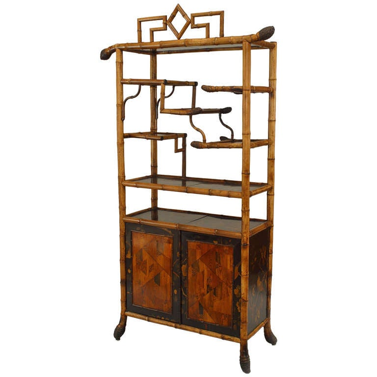 19th c. English Bamboo Etagere