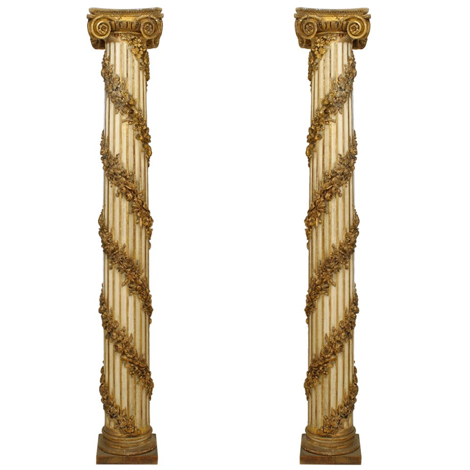 Pair of Gold Painted Louis XVI Style Ionic Columns