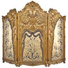 Spectacular Louis XV Style Silk Paneled Gilt Screen