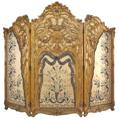 Louis XV Style Carved Gilt 3-Fold Screen with Embroidered Silk Panels