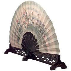 Monumental 19th c. Japanese Folding Fan with a Coromandel Base