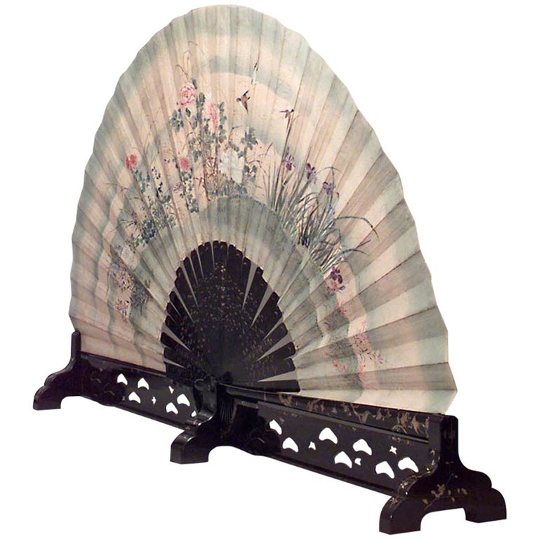 Monumental 19th c. Japanese Folding Fan with a Coromandel Base For Sale