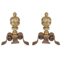Pair of Neo-Classic Large Brass Andirons