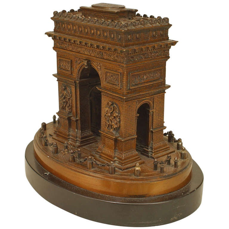 Bronze Model of the Arc de Triomphe on a Marble Base