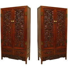 Pair of 19th c. Carved Chinese Cupboards