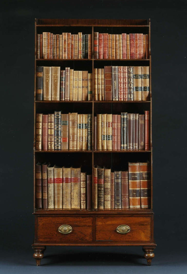 a fine pair of georgian rosewood and brass inlaid tall bookcases circa 2