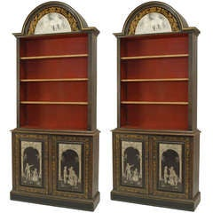 Pair of English Adam Style Stenciled Glass Lacquered Bookcases