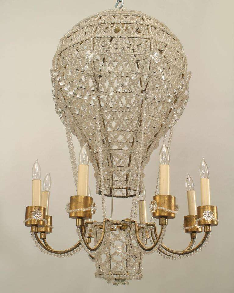 French 1930s crystal hot air balloon chandelier attributed to french 1930s chandelier composed of latticed crystal wrapped around a bulbous gilt metal frame in the mozeypictures Images