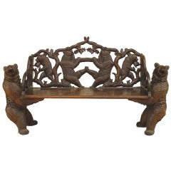 A Superb Black Forest Bear Bench