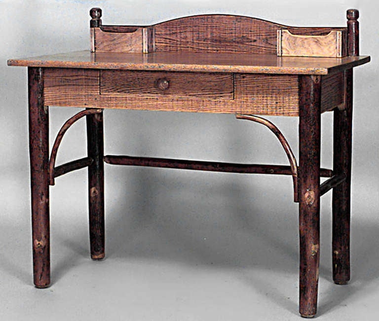 Rustic old hickory writing table for sale at stdibs