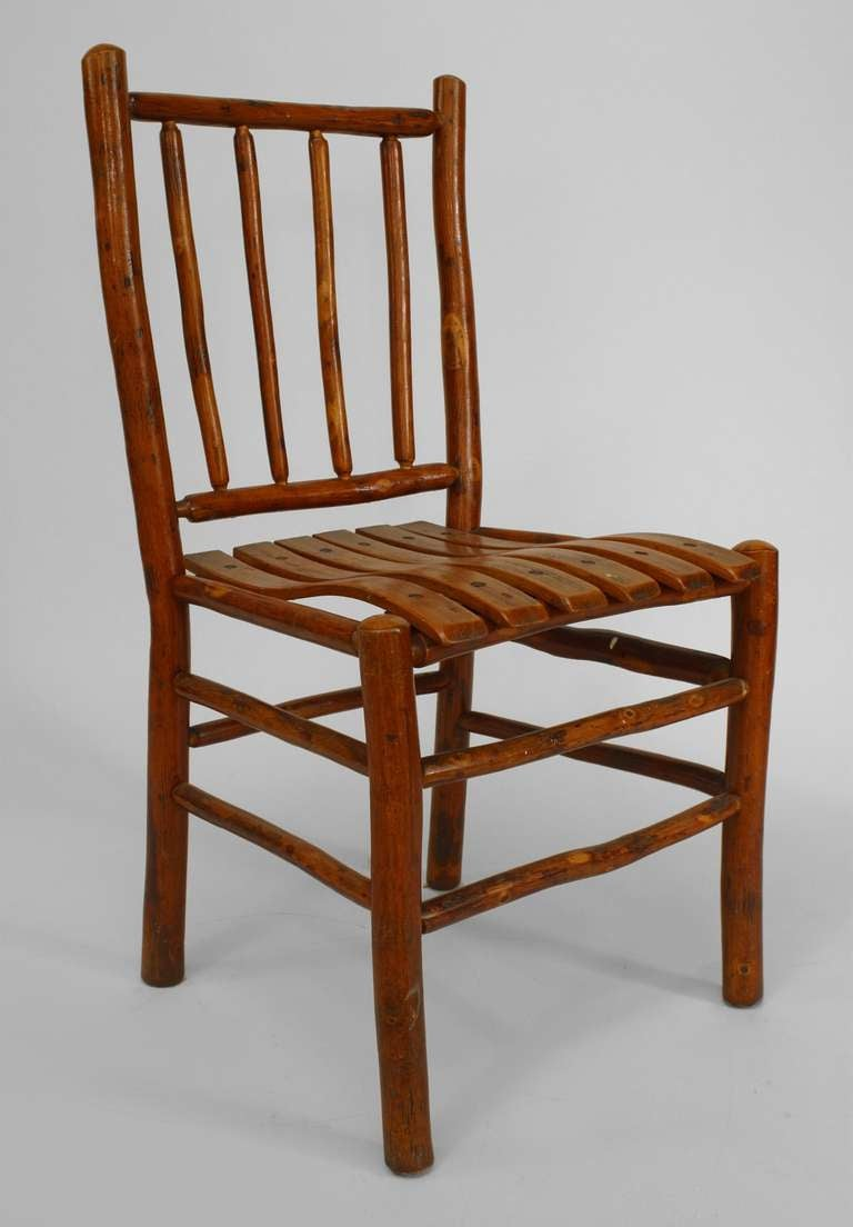Set Of 12 Rustic Old Hickory Spindle Design Chairs For