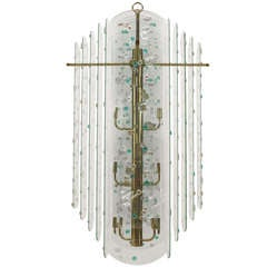 1960's Layered Glass Chandelier with Applied Colored Discs