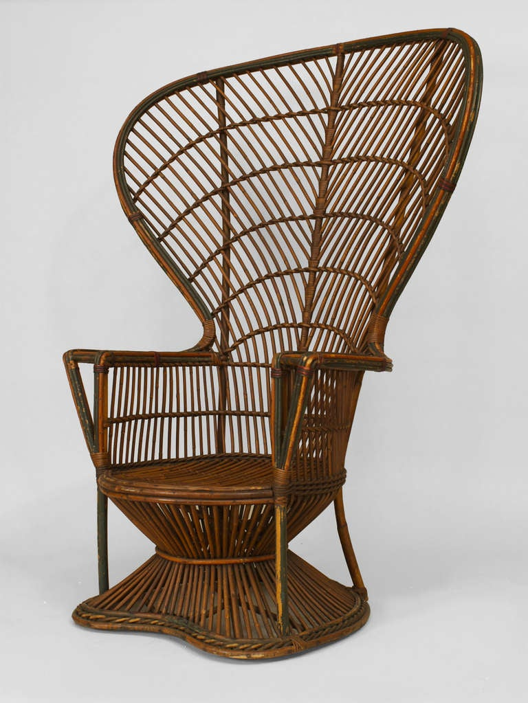 19th C Natural Wicker Fan Back Throne Chair Attributed To Heywood Wakefield