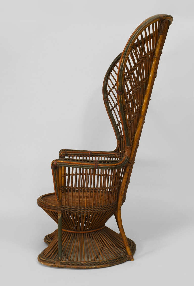 19th C Natural Wicker Fan Back Throne Chair Attributed To