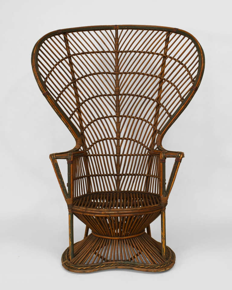 19th c natural wicker fan back throne chair attributed to for American rattan furniture manufacturer