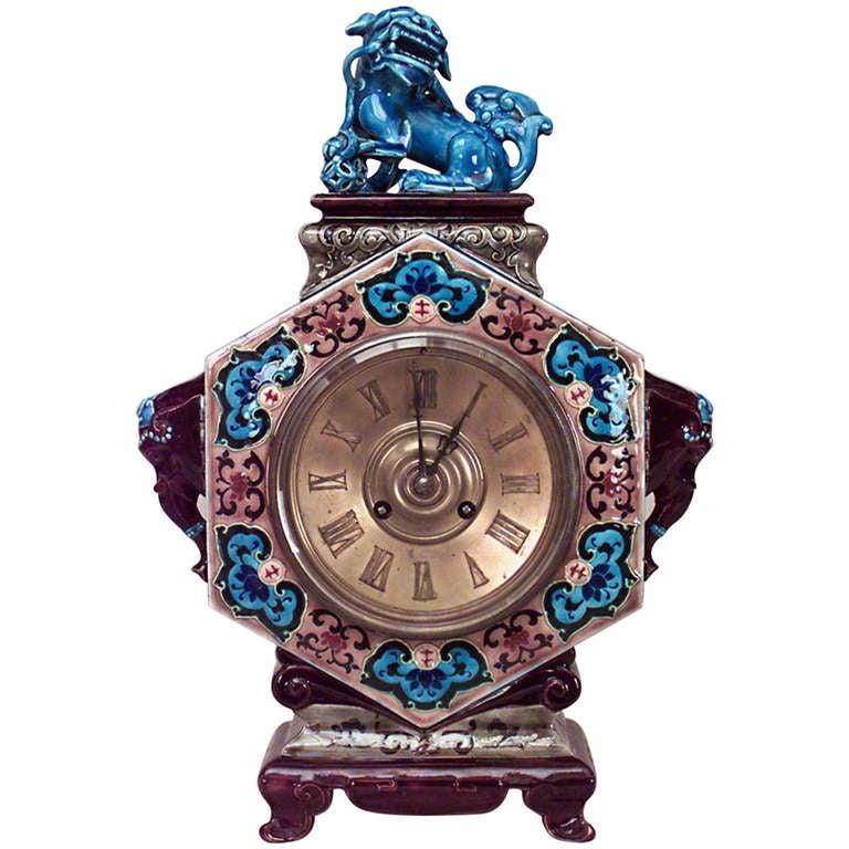 19th c. Porcelain Chinoiserie Mantel Clock