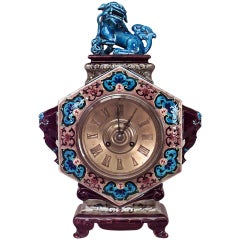 19th c. Porcelain Chinoiserie Mantel Clock
