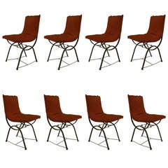 Set of 8 Mid-Century Dining Chairs Attributed to Gilbert Poillerat