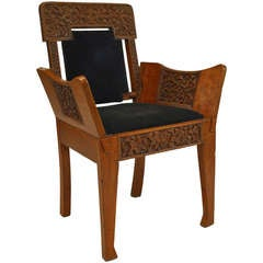 19th c. Black Velvet Upholstered Burmese Club Chair