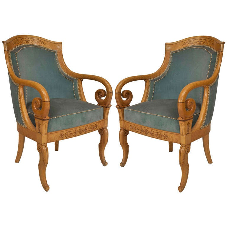 Pair of Charles X Blue Velvet Upholstered Armchairs at 1stdibs