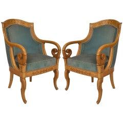 Pair of Charles X Blue Velvet Upholstered Armchairs
