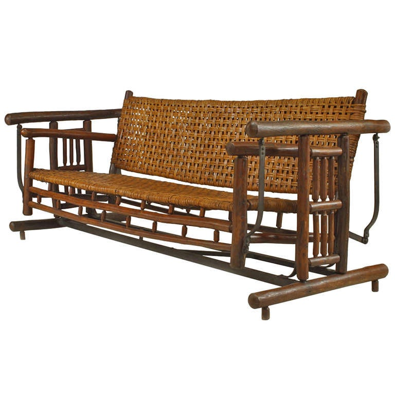 20th Century American Rustic Porch Glider Settee By Old