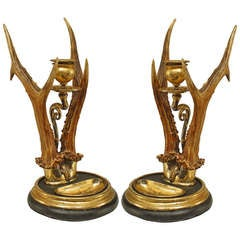 Pair of Continental Antler and Brass Candlesticks