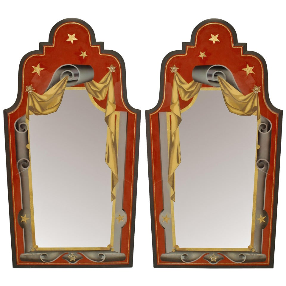 Pair of Italian Art Deco Style Painted Eglomise Wall Mirrors