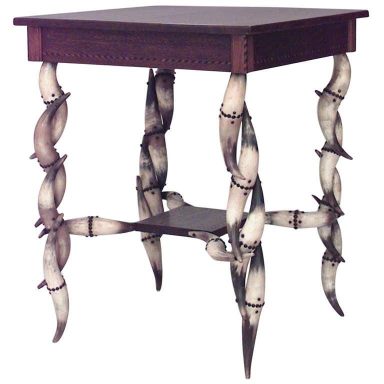 Rustic 19th c. Steer Horn Leg End Table