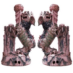 Pair of 19th Century Chinese Foo Dog Vases