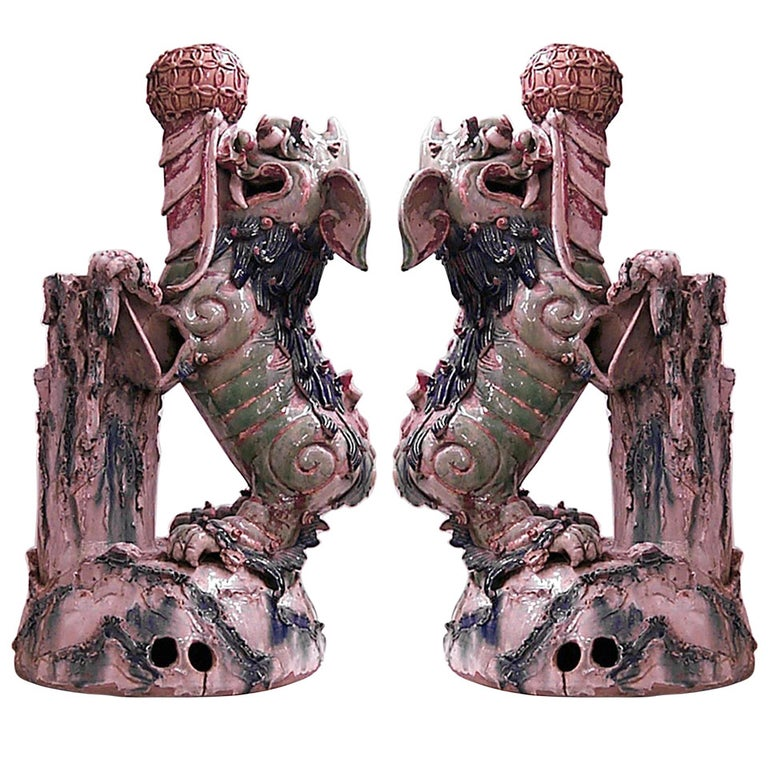 Pair of 19th Century Chinese Foo Dog Vases For Sale