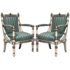 Pair of French Empire Gilt Carved and Upholstered Armchairs