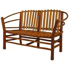 20th c. American Rustic Oak Loveseat by Old Hickory Co.