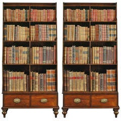 A Fine Pair of Georgian Rosewood and Brass Inlaid Tall Bookcases, Circa 1800