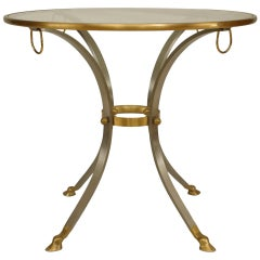 Glass Top Steel and Bronze Art Moderne Style Center Table
