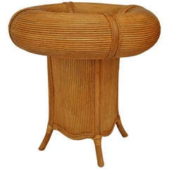 Italian 1950's Well Top Rattan Cafe Table