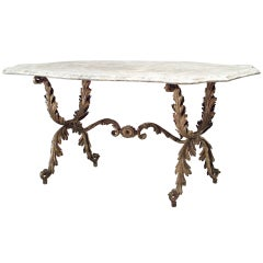 19th c. Venetian Foliate Gilt Metal Center Table with Marble Top