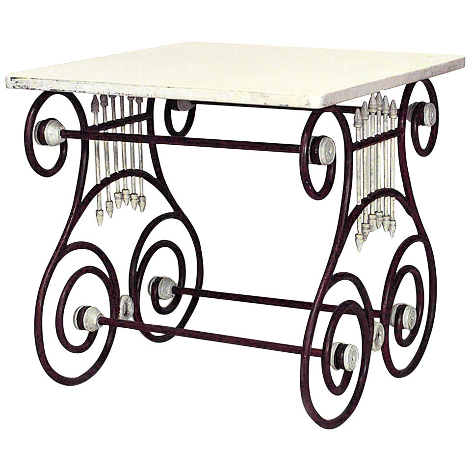 French 19th C. Marble Top Painted Iron Butchers Table