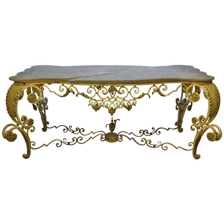 19th c. French Outdoor Painted Iron Center Table with Marble Top