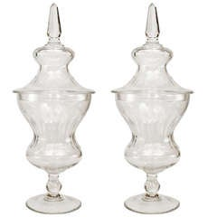 Pair of 19th Century Crystal Urns