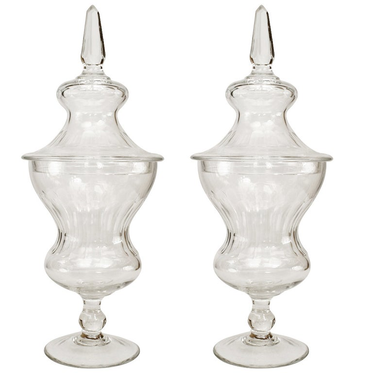 Pair of 19th Century Crystal Urns For Sale