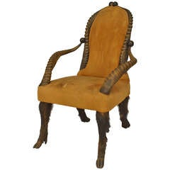 19th c. Rustic Horn Design Armchair with Leather Upholstery