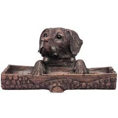 Black Forest Dog-Form Walnut Pen Holder and Inkwell
