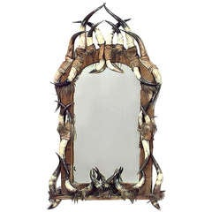 19th c. Continental Rustic Horn Wall Mirror