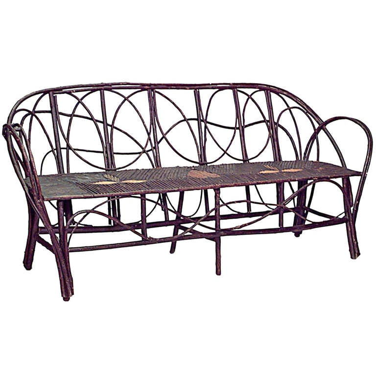 Rustic 19th c. French Bentwood Settee