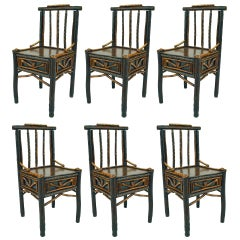 Set of Six Rustic Adirondack Side Chairs Attributed to Ben Davis