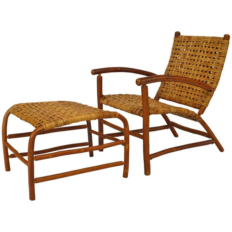 Mid 20th C Old Hickory Open Armchair And Ottoman For Sale